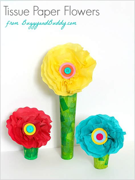 Tissue Paper Flowers With Children - tissue paper and cardboard flower craft buggy and buddy