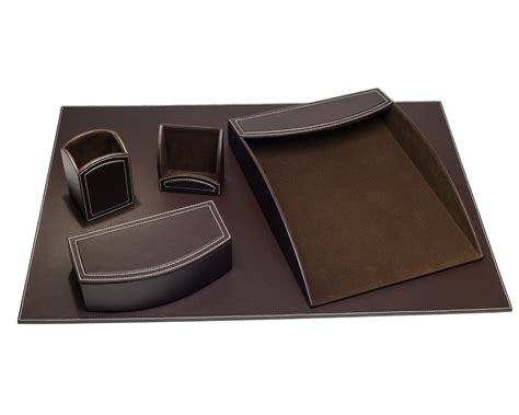 Faux Leather Desk Accessories D6064 Dacasso Colors Faux Leather 5pc Office Organizing Desk Set Espresso Brown