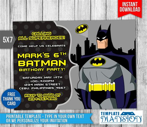 free batman birthday card template batman invitation batman birthday invitation psd by