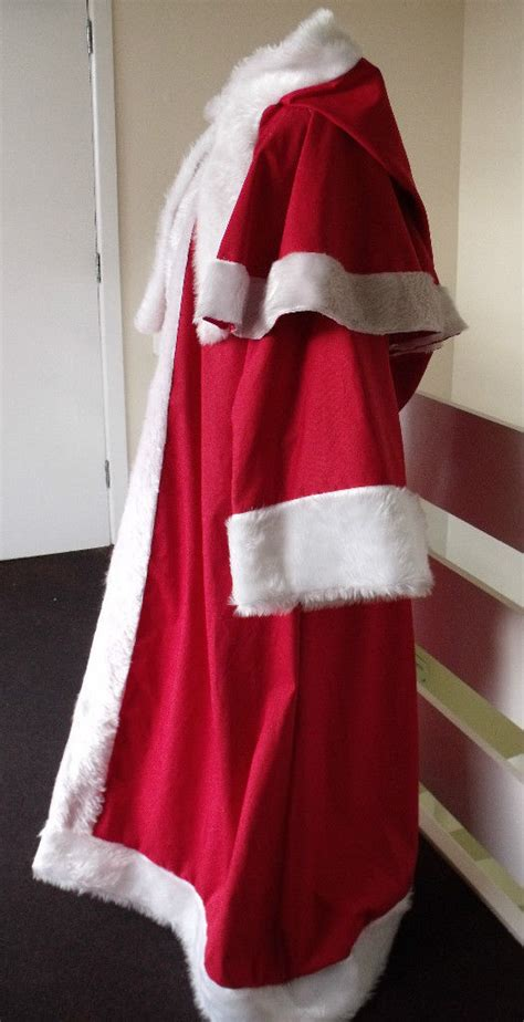 red cotton drill father christmas santa claus robe faux
