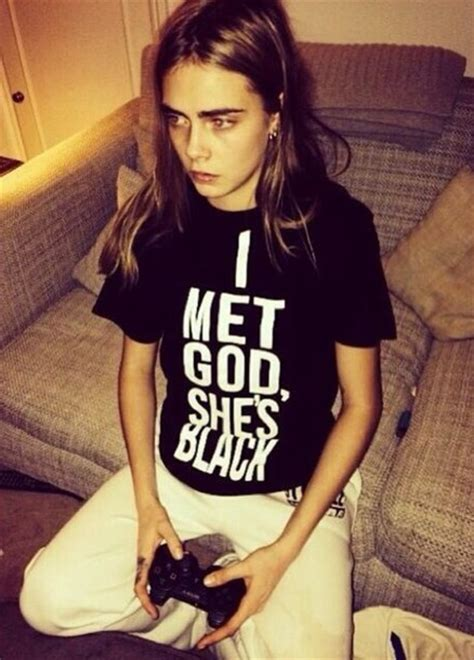 shirt black tumblr  shirt  met god shes black   birds sing  delevingne  shirt
