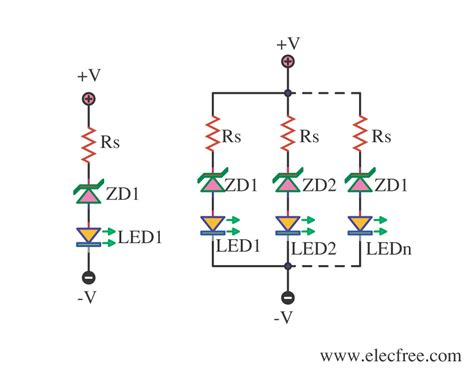 using 1 resistor for leds 4 led voltage indicator circuits eleccircuit