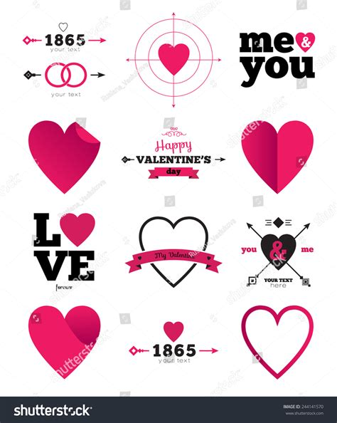 hearts vector icon set ideal for valentines day and
