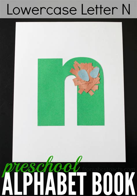 n craft preschool alphabet book lowercase letter n from abcs to