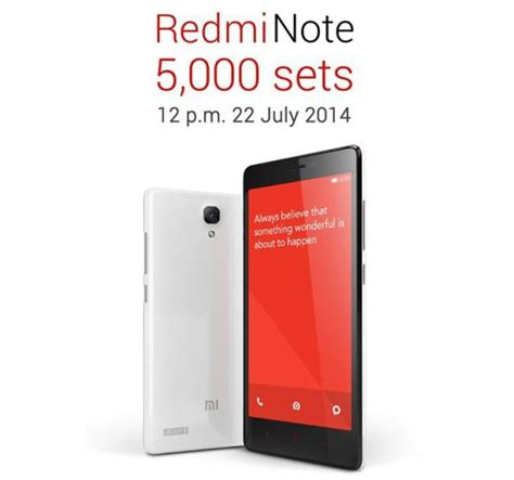 Hp Xiaomi July redmi note goes on sale this tuesday with 5 000 units