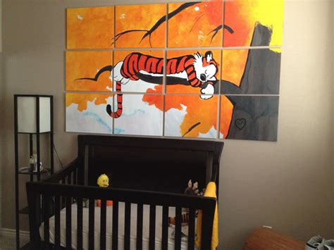 calvin and hobbes room calvin hobbes nursery would make one of the strips a square on each canvas kidlets