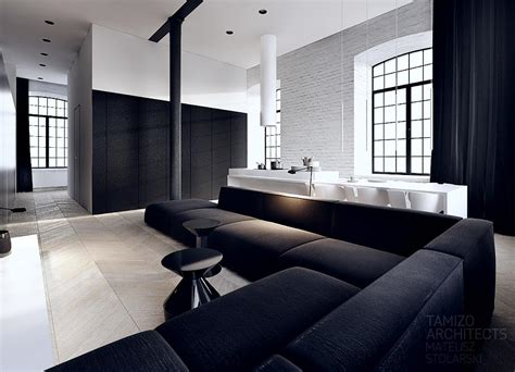 Black And White Interiors | this black and white interior vision is a striking loft in the complex scheibler in lodz with