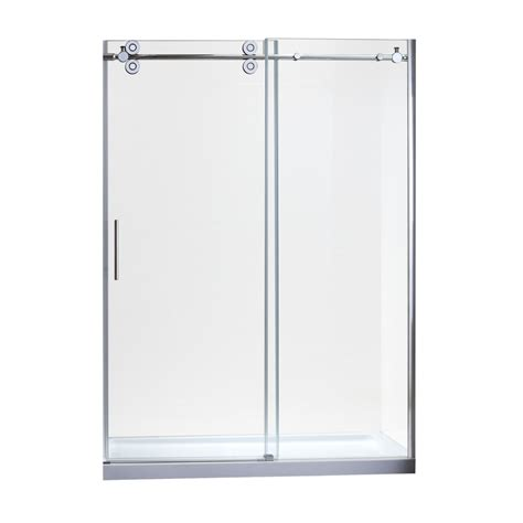 Shower Doors Lowes Shop Allen Roth 58 In To 60 In W X 78 7 In H Chrome Sliding Shower Door At Lowes