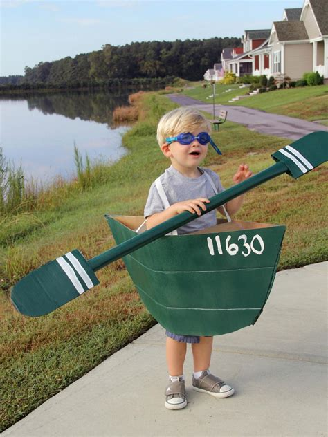how to make a cardboard canoe halloween costume for kids - Cardboard Boat Costume