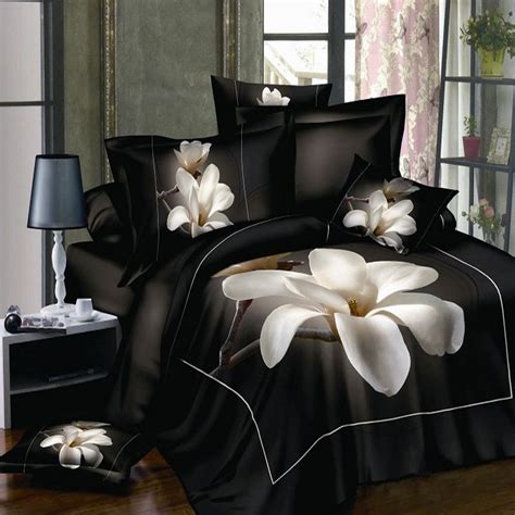 buy mountains king size duvet set from our aliexpress buy white orchid black bedsheet 3d bedding sets king size 4pcs flowers