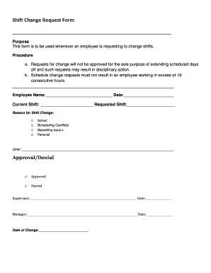 Shift Change Request Form Fill Out Online Download Printable Templates In Word Pdf From Work Schedule Change Request Form Template