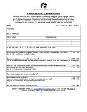 Fillable Eyelash Extension Consultation Form Template Eyelash Extension Consultation Form Template