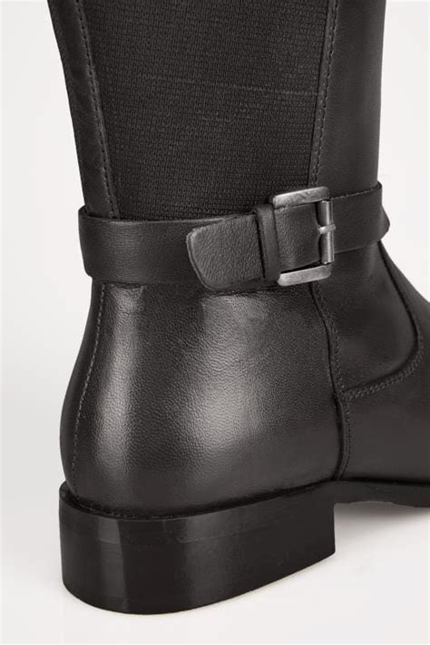 Class Black Boots Cb Leather 07 black leather boots with stretch panels in eee fit