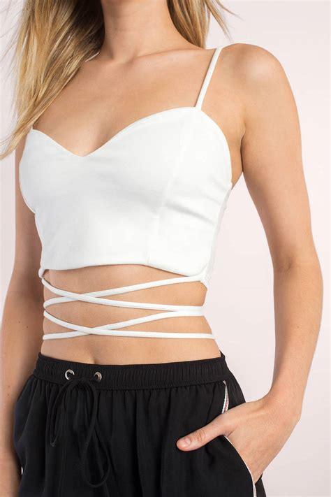 To Trendy White trendy white crop top cami straps top v neckline top