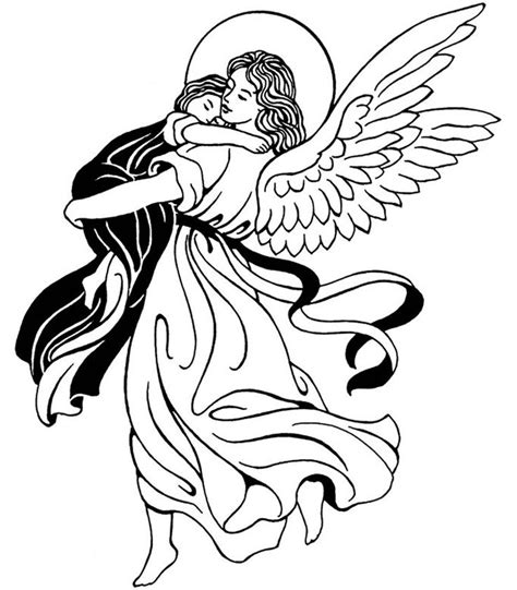 Realistic Guardian Angel Coloring Coloring Pages Guardian Coloring Page