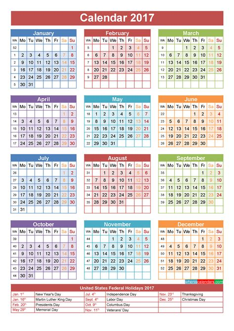 Yearly Calendar 2017 Calendar With Holidays Printable Yearly Calendar