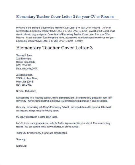 elementary education cover letter teaching cover letter exles for successful application