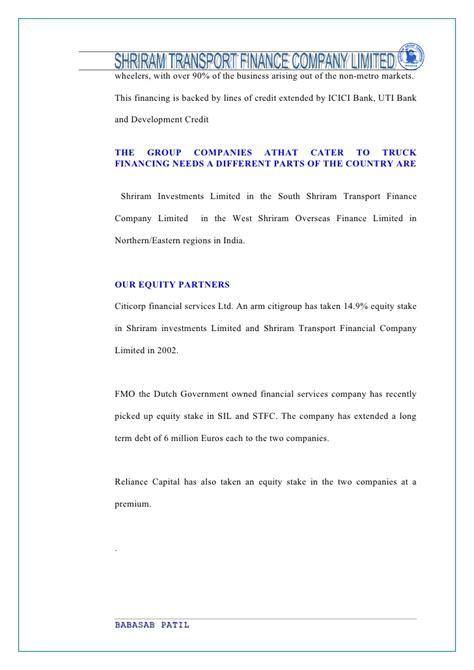 Shriram Transport Finance Letterhead perception of customers shriram transport finance