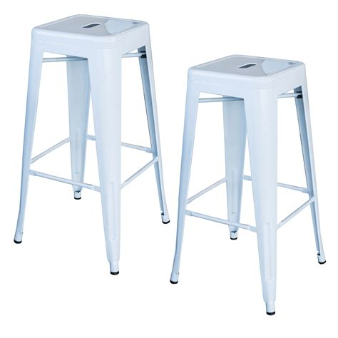White Pieces In Stool by Amerihome Bs030w2pk Loft White 30 In Metal Bar Stool 2