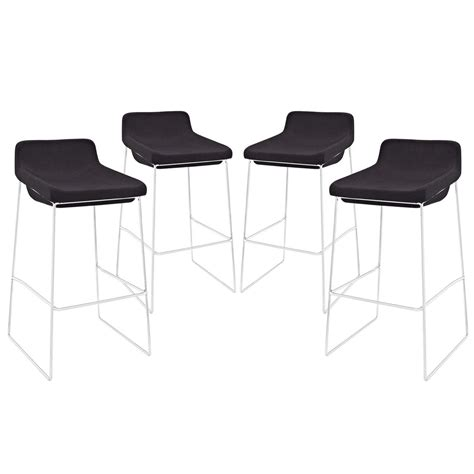 Bar Stool Sets Of 4 Set Of 4 Garner Contemporary Upholstered Bar Stool With Chrome Frame Black