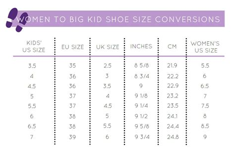 youth shoe size conversion to s