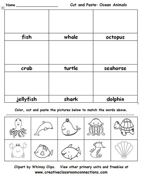 best photos of ocean animals worksheets cut out ocean 788 best creative classroom connections images on