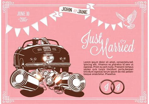 Just Married Auto Grafik by Retro Just Married On Car Vector Free Vector