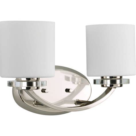 2 Light Vanity Fixture Progress Lighting Nisse Collection 2 Light Polished Nickel Vanity Fixture P2013 104 The Home Depot
