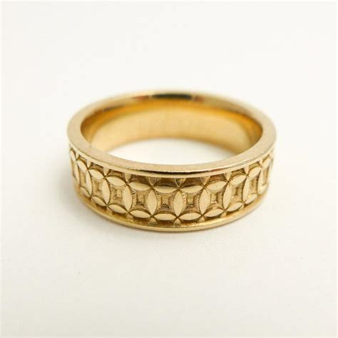 wide wedding band patterned wedding band 14 karat solid