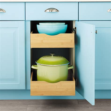 roll out cabinet drawers top pinned the container store
