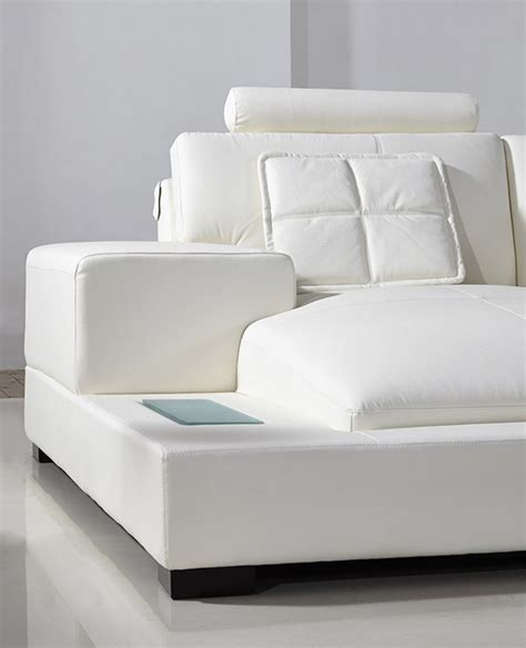 Modern White Bonded Leather Sectional Sofa Divani Casa Modern Bonded White Leather Sectional Sofa