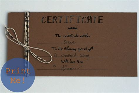 Gift Cards For Men - the petit cadeau printable gift certificates for men