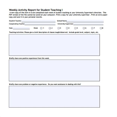 activity report template weekly work activity report template images