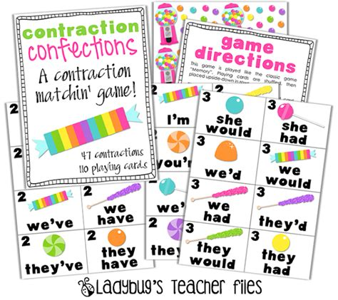 printable contraction games contraction confections game ladybug s teacher files