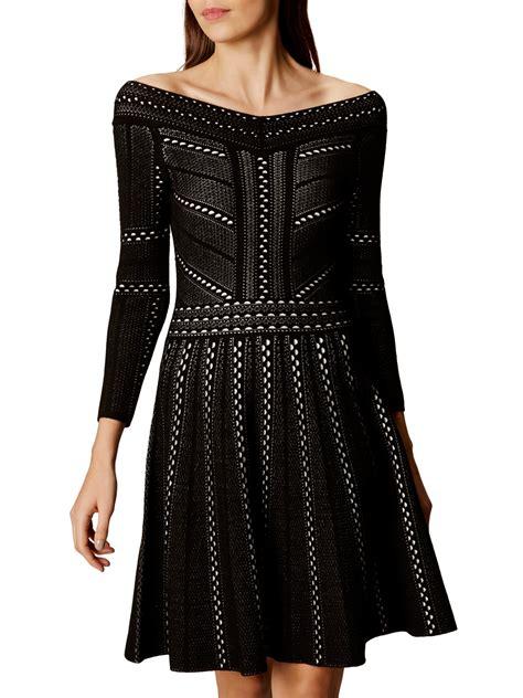 A Line Knit Dress millen lace knit a line dress black multi bardot
