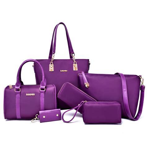 Solid Travel Set 6 Pcs In 1 Set 6 pcs set handbag brand composite bag solid messenger bags shoulder bag purse