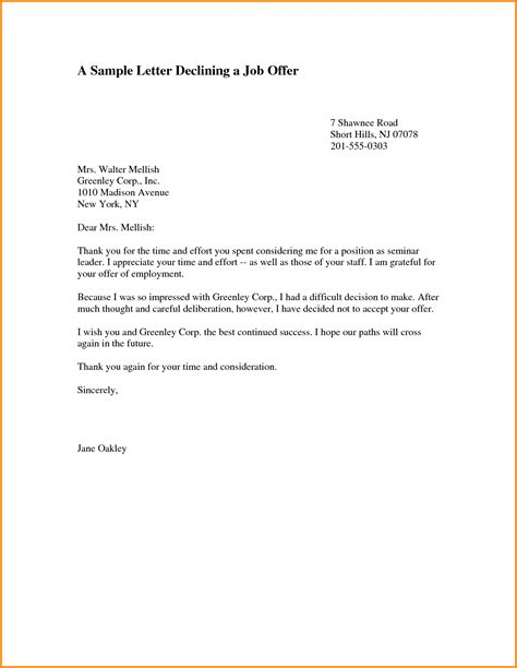Decline Support Letter 11 Decline Offer Letter Letter Template Word