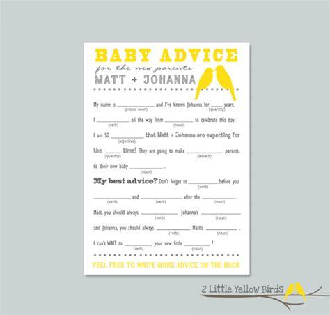 baby advice for baby shower baby shower advice card mad libs yellow by 2littleyellowbirds