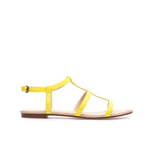 patent leather sandals flats zara patent leather flat sandals in yellow lime green lyst