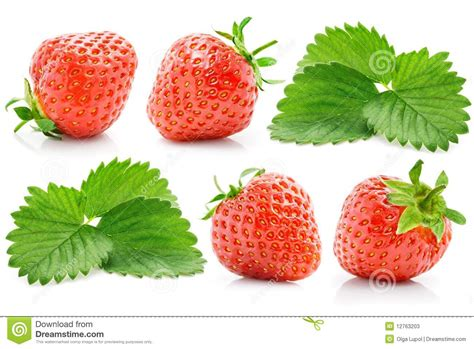 Set Strawberry set fresh strawberry with green leaves stock photos image 12763203