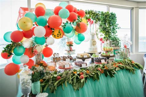 Mint coral and gold boho themed christening oh it s perfect