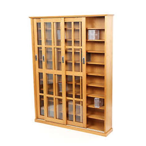 Large Media Cabinet With Doors Large Media Cabinet Cd Dvd Storage Shelves Sliding Glass Doors Wood Oak Finish Ebay