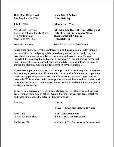 format for formal business letter business letter format formal writing sle template