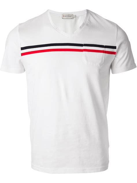 lyst moncler striped detail t shirt in white for