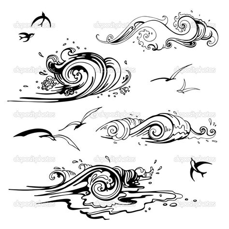 drawing a vector wave line drawing depositphotos 22648403 sea zeichnung