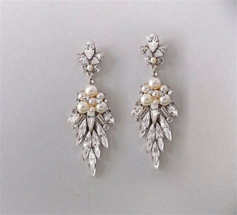 Wedding Earrings Bridal Earrings Chandelier Earrings Chandelier Pearl Earrings For Wedding