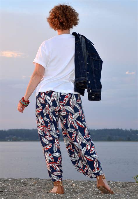 pattern shirt with patterned pants harem pants vogue pattern v1355 stretch sew 333
