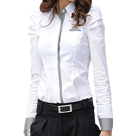 Korean Style Blus With Necklace Sleeve 1 korean style cotton womens blouse 2015 sleeve collar shoulder buttons pocket formal