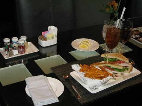 Room Service Club by Room Service Setup Club Sandwich Fries And Tea