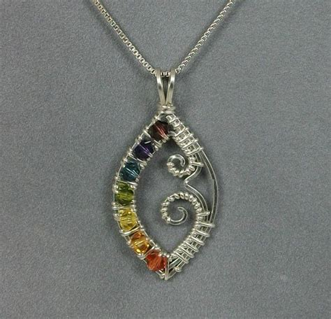 Handmade Wire Necklaces - handmade wire wrapped chakra pendant in sterling silver